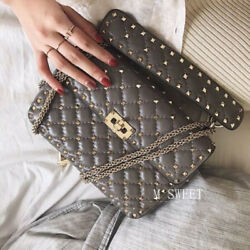 CELEBRITY STYLE Women's Leather Studs Quilted Flap Chain Shoulder Bag Purse