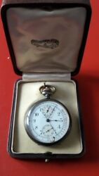 Antique Pocket Watch Chrono Medical Dial Pulsations Leather Case
