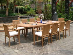 Lua 11 Pc Dining 117 Oval Table Arm Stacking Chair Set A-grade Teak Outdoor New