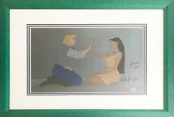 Pocahontas Very Rare Signed Limited Edition Hand Painted Cel Two Worlds
