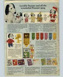 1976 Paper Ad 2 Pg Snoopy Stuffed Woodstock Pennant Calendar Puppet Stocking