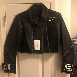 Nike X Off-white X Serena Williams Leather Jacket Sz S Nyc Exclusive Bv7078 010