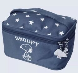 Snoopy X Pigi Navy Blue White Stars small makeup bag vanity train case