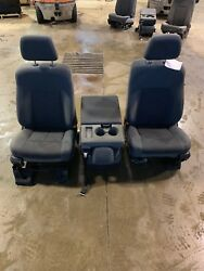 11-16 FORD F250 F350 FRONT SEATS AND CONSOLE GREY CLOTH OEM