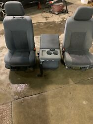 11-16 FORD F250 F350 FRONT SEATS AND CONSOLE GREY CLOTH MANUAL OEM