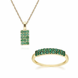 9ct Yellow Gold Emerald Cluster Panel Ring & 45cm Necklace Set
