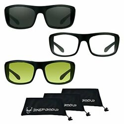 Motorcycle sunglasses Foam Padded +2.50 Z87 Safety Lenses Smoke Clear and Yello