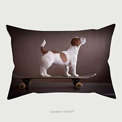 Custom microfiber pillowcase protector Jack Russell ? terrier on a skateboard 1
