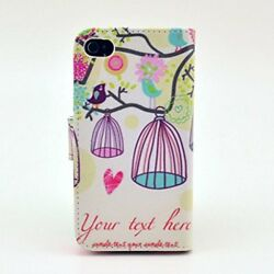 For iPhone 4S Case iPhone 4 Case Karia? PU Leather Wallet Type Magnet Design