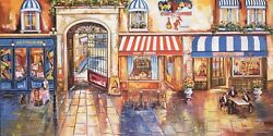 Alexander Borewko- Street Restaurants Giclee On Canvas Signed And Numbered | Coa