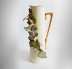 Franz Pitcher Ewer With Hand Painted Morning Glory Flowers - Not Signed