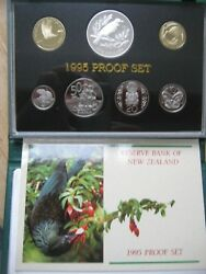 New Zealand 1995 Proof Coin Set 5 Cent - 5 Dollars Tui Bird Cased Info Cards