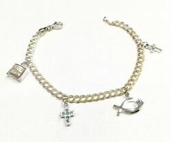 Sterling Silver Religious Charm Bracelet Italy Holy Bible Cross Fish Never Worn