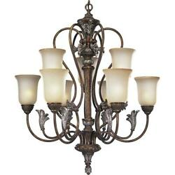 Progress Lighting P4087-55 2-tier 9-light Chandelier With Antique Seeded Etched