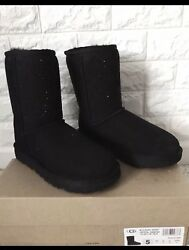 Ugg Classic Short Crystal Diamond Black Suede Shearling Boot Size Women Us 5
