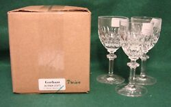 Gorham Althea Cut 6 Wine Stems Set/3 Mint In Box More Available