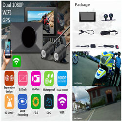 3.0'' WIFI Dual Lens Motorcycle DVR GPS FHD Video Recorder Support 128GB TF Card
