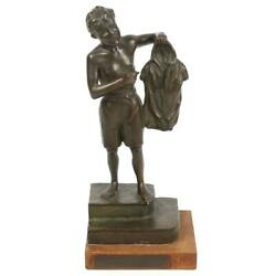 Poignant Signed A. Livraghi Bronze Sculpture The Boy Who Sold His Shirt