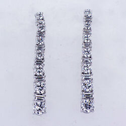 1.32ct Round And Baguette Cut Fashion Diamond Earrings 18k White Gold 1 Inch