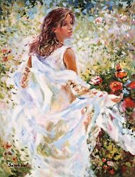 Igor Semeko- Lady In White Dress | Giclee On Canvas | Hand Signed And Numbered Coa