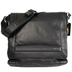 $6500 NWT ZILLI France Black Leather Crossbody Shoulder Small Messenger Bag