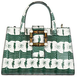 GUCCI WOMEN'S LEATHER HANDBAG SHOPPING BAG PURSE NEW NYMPHAEA GREEN 48A