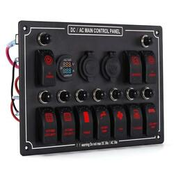 12V 10 Gang Rocker Switch Panel Breaker LED Waterproof Car Marine Boat RED ~ #*
