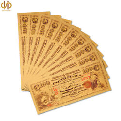 10pcs Souvenir Gold Color Banknote 1875 100 National Currency Note Bill