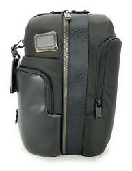 Tumi Smith Sling Bag Crossbody Tablet Backpack Black Ballistic with Leather Trim