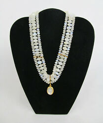 Rare Vintage 18k Moonstone Cameo Bead And Diamond Pendant Necklace - Spectacular