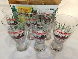 6 Vintage Ltd Edition Christmas 1989 Budweiser Clydesdale Beer Glasses Libbey