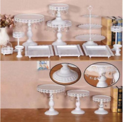 12x Decor Glass White Top Cake Stand Round Metal Wedding Party Cupcake Tower O
