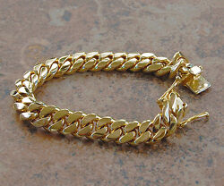 Solid 14k Gold Miami Menand039s Cuban Curb Link Bracelet 7.5 Heavy 63.6 Grams 10mm