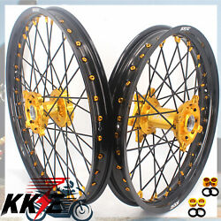 Kke 21 19 Motorcycle Wheels For Rmz450 2005-2020 Rmz250 2007-2020 Black Spokes