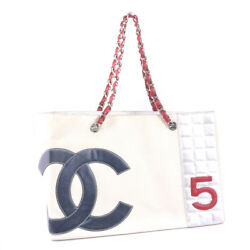 AUTHENTIC CHANEL No. 5 Chain Tote Shoulder Bag WhiteNavy  Red canvas Women