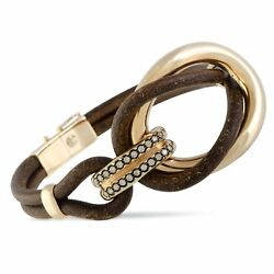 Bucherer 18k Rose Gold Brown Diamonds And Brown Leather Large Double Loop Ban...