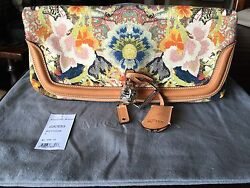 Alexander McQueen Skull Padlock Fold-over Clutch Bag Floral Tapestry Canvas-New