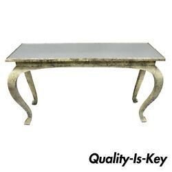 Vintage Hollywood Regency James Mont Style Console Hall Sofa Table W/ Mirror Top