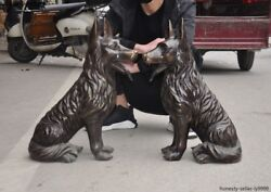 Chinese Feng Shui Bronze Home Door Guardian Dog Hound Doggy Pooch Doggie Statue