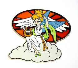 Tinker Bell Le Disney Pin Tink Christmas Stained Glass Angel Halo Cloud Harp New