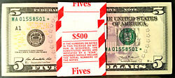 2013 Star 5 Dollars Federal Reserve Notes Boston Fr.1996-a Pack Lot Of 100 Gem