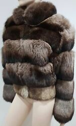 Jitrois Made In France Brown Beige Fox Rabbit Fur High Neck Lined Jacket 40 Uk12