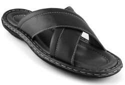 Mens Open Toe Sandals Top Grain Leather Soft Cushion Footbed X Design Sizes 7-11