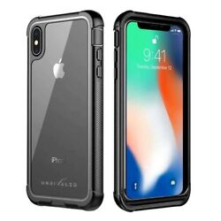 Unrivaled Iphone Xs Max Cell Phone Case W/ Built In Screen Protector Matte Black