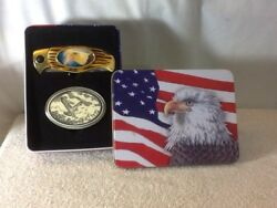 Handcrafted SCRIMSHAW SERIES Belt Buckle & Knife With Eagle In Collectors Tin