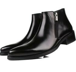 Chic Mens real Leather high top zipper cuban heel Formal Dress Ankle Boots Shoes