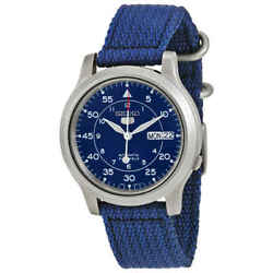 Seiko 5 Blue Dial Blue Canvas Menand039s Watch Snk807