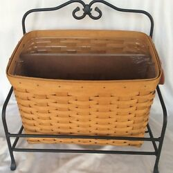 Longaberger 2004 Warm Brown Newspaper Basket Protector Divide Wrought Iron Stand