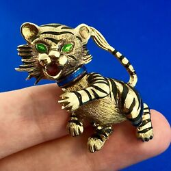 Vintage Martine 14k Yellow Gold Enamel Tiger Cat Brooch Pin Pendant