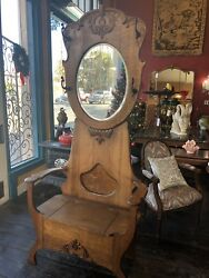 Antique 1900's American Tiger Oak Hall Tree With Mirror Seat Lift Lid Storage 78